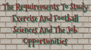 Requirements To Study Exercise And Football Science And The Job Opportunities